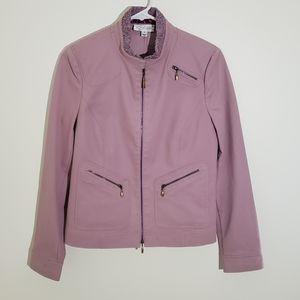 St. John Sport Pink Denim Bomber Moto Jacket